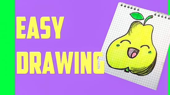 How to draw a cute pear